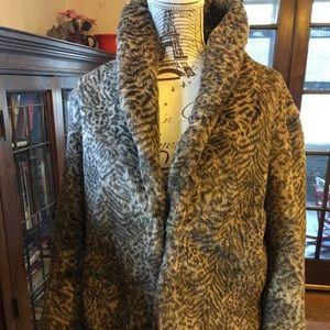 Chico's leopard print faux fur cute jacket